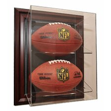 """Two Football """"Case-Up"""" Display in Mahogany"""