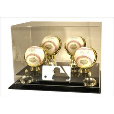 MLB Logo 4 Baseball Gold Ring and Risers Display