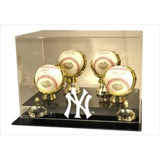 New York Yankees NY Logo 4 Baseball Gold Ring and Risers Display