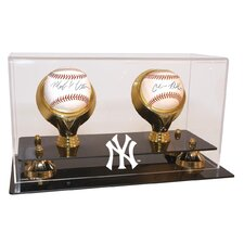 New York Yankees NY Logo Double Baseball Gold Ring and Risers Display