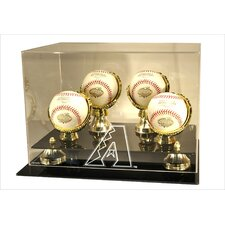 4 Baseball Gold Ring and Risers Display