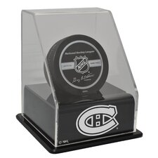 NHL Single Hockey Puck Display Case with Angled Base