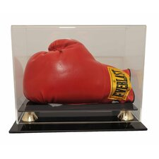 Horizontal Single Glove with Gold Risers Display Case