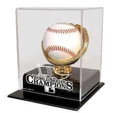 2013 Red Sox World Series Champs Single Baseball Gold Glove Display