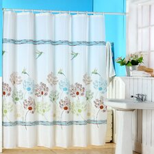 <strong>Lavish Home</strong> Polyester Shower Curtain with Buttonhole