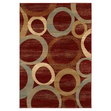 Red / Beige Sphere Vision Area Rug