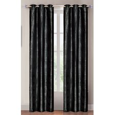 <strong>Lavish Home</strong> Metallic Black Grommet Curtain Curtain Panel (Set of 2)
