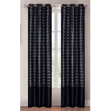 <strong>Lavish Home</strong> Black Diamond Grommet Curtain Panel (Set of 2)