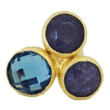 Gold Round Cut Gemstone Statement Ring