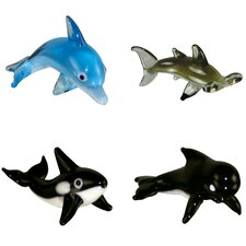 4 Piece Miniature BottlenoseDolphin, HammerHeadShark, Orca, PilotWhale Figurine Set