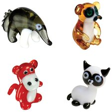 <strong>Looking Glass</strong> 4 Piece Miniature AntEater, Lemur, Baboon, SiameseCat Figurine Set
