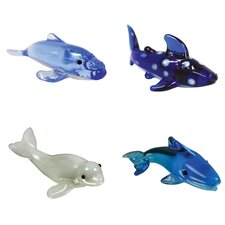 <strong>Looking Glass</strong> 4 Piece Miniature HumpbackWhale, WhaleShark, BelugaWhale, BlueWhale Figurine Set