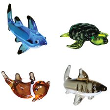 4 Piece Miniature Black Tip Shark, Sea Turtle, Otter, Great White Shark Figurine Set