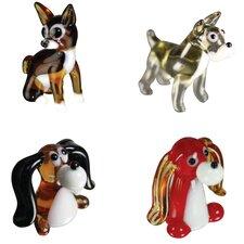 4 Piece Miniature Chihuahua, Schnauzer, Beagle, LongEar Dog Figurine Set