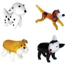 4 Piece Miniature Dalmation, Dachsund, BullDog, PitBull Figurine Set