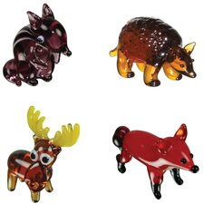 <strong>Looking Glass</strong> 4 Piece Miniature Chipmunk, Armadillo, Moose, Fox Figurine Set