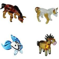 4 Piece Miniature ArabianHouse, PintoHorse, Goldfish, Horsey Figurine Set