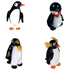 4 Piece Miniature Waddle Penguin, Penelope Penguin, Boss EmperorPenguin, Marconi Penguin Figurine Set