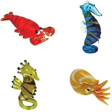 4 Piece Miniature Lenny Lobster, Morris SeaHorse, Sally Seahorse, Nate Nautilus Figurine Set