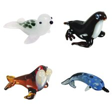<strong>Looking Glass</strong> 4 Piece Miniature Celia Seal, Mona MonkSeal, Wallace Walrus, Norton Narwahl Figurine Set
