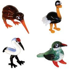 Miniature Kiwi, Ostrich, Crane, KingFisher Figurine Set