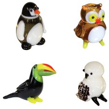 Miniature Penguin, Owl, Toucan, SnowOwl Figurine Set