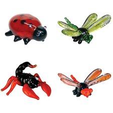 4 Piece Miniature LadyBug, DragonFly, Scorpion, DamselFly Figurine Set
