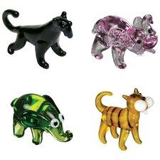 4 Piece Miniature Blackie Panther, P-Nut Elephant, Ellie Elephant, Tommy Tiger Figurine Set