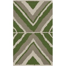Alameda Silver Cloud  / Spinach Green Rug