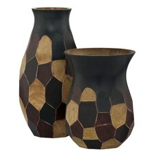 2 Piece Faceted Vase Set