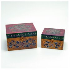 <strong>Modern Day Accents</strong> Painted / Embossed Square Box (Set of 2)