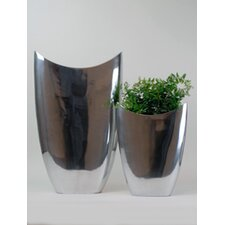 Aluminum Oval Pointed Vase (Set of 2)
