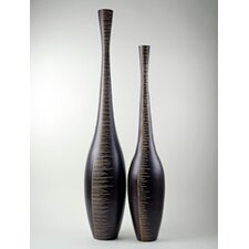 Wood Tall Etched Vase (Set of 2)