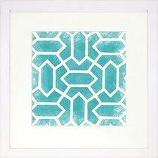 Modern Living Modern Symmetry V Framed Graphic Art in Turquoise