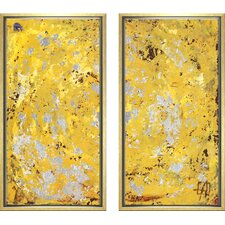 Modern Living Silvery Diptych Framed Painting Print in Yellow