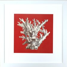 <strong>Indigo Avenue</strong> Seaside Living Coral on Red I Framed Wall Art
