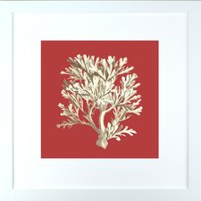 <strong>Indigo Avenue</strong> Seaside Living Coral on Red IV Framed Wall Art