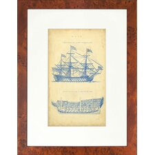 Seaside Living Vintage Ship Blueprint Framed Wall Art