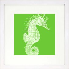 <strong>Indigo Avenue</strong> Seaside Living Saturated Sea Life Lime Seahorse Framed Wall Art