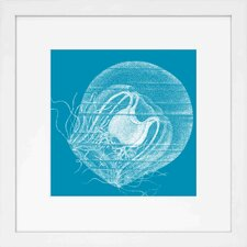 <strong>Indigo Avenue</strong> Seaside Living Saturated Sea Life Aqua Jellyfish Framed Wall Art