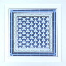 Fresh Traditions Living 'Italian Indigo Blue Mosaic Tre' Framed Painting Print