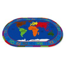 All Around the World Map Kids Rug