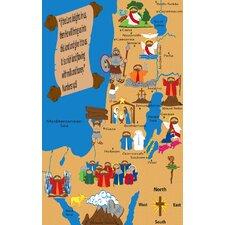 Holy Land Map Sunday School Kids Rug