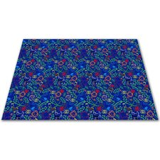 Animal Doodles Multicolor on Blue Kids Rug