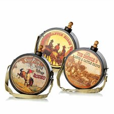 Happy Trails 3 Piece Decorative Western Canteens Set