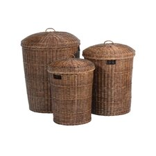 3 Piece Rattan Laundry Carrier