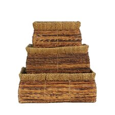 Rectangle Banana and Seagrass Basket (Set of 3)