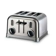 Metal Classic 4-Slice Toaster in Black and Stainless
