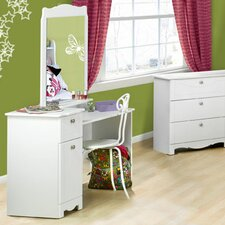 Dixie Vanity and Mirror Set in White Lacquer