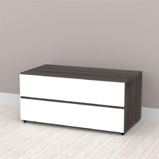 "Allure 36"" Storage Cabinet in White and Ebony with 2 Drawers"